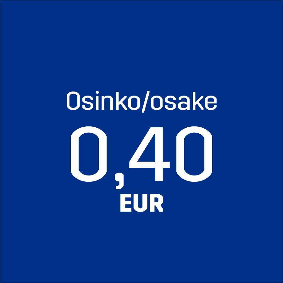Osinko/osake 0,40 EUR